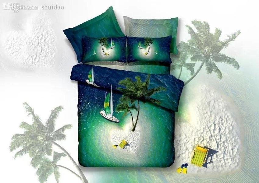 Wholesale 100%cotton Queen Beach Bedding Set /blue Green Duvet Cover  Coconut Tree/Sailing/sea Bed Set/oil Painting/bedroom Sheets Set/