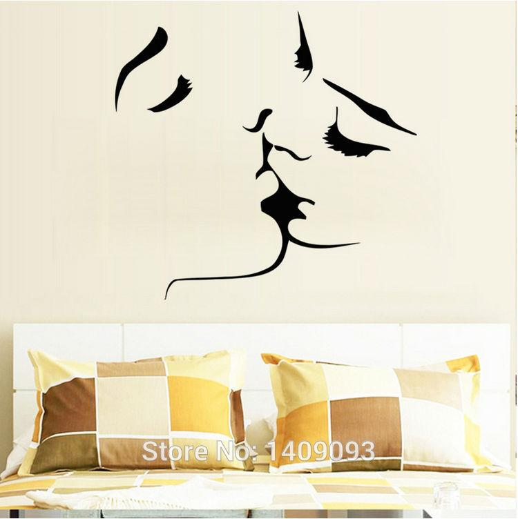 Romantic Bedroom Wall Decals diy kiss love romantic wall decals sofa backdrop bedroom