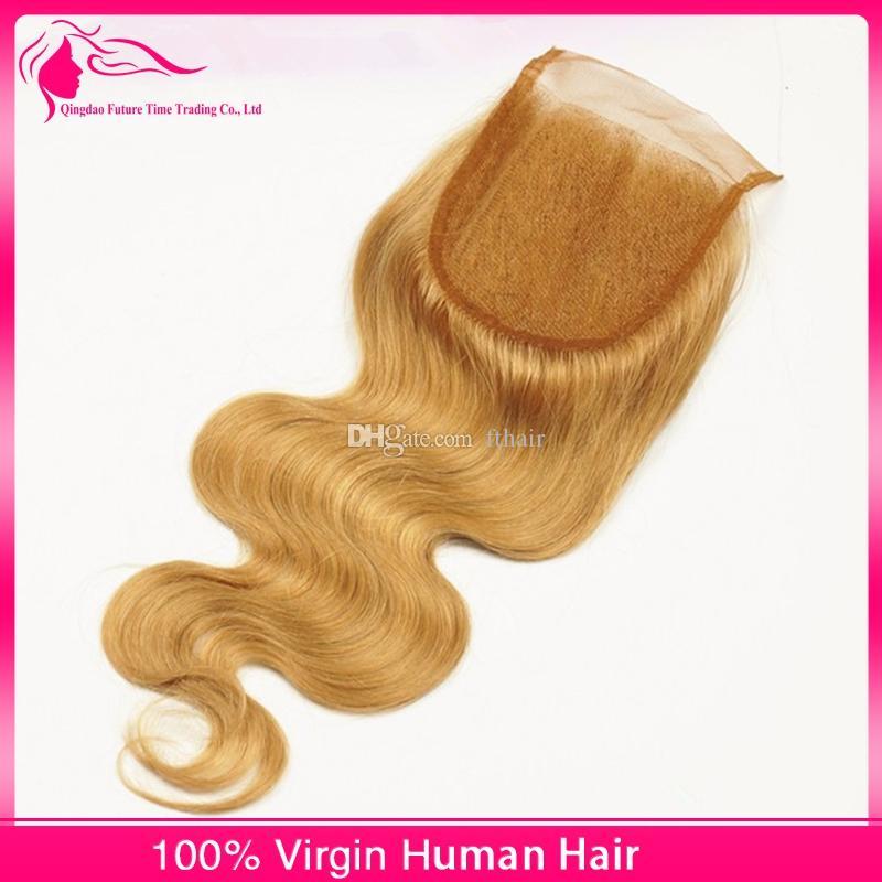 9A onda peruana rubia del cuerpo del pelo teje 3 paquetes con el cierre del cordón # 27 extensiones rubias del cabello humano de la miel con la pieza superior de los closes