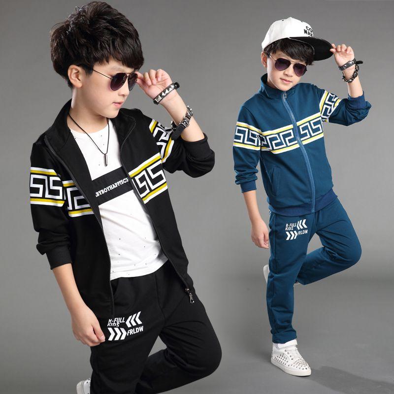 858fe74d8dd9 New Fashion Big Boys Cotton Outfits Children Korean Tracksuits Kids ...