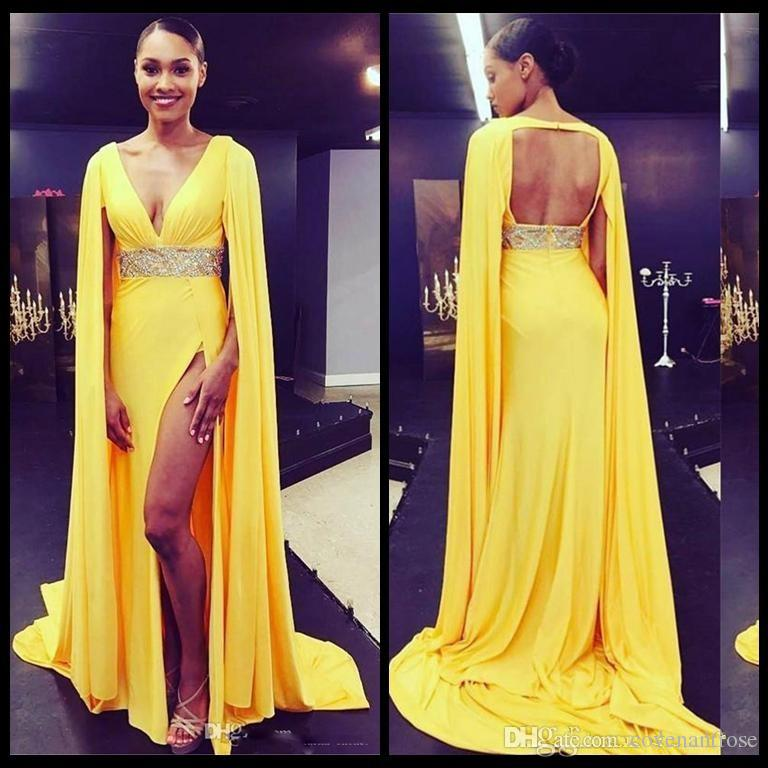 Sexy Yellow Deep V Neck Open Back Prom Dresses Formal Celerbrity Red