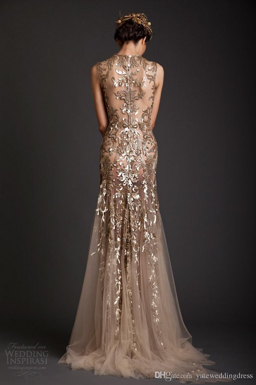 Krikor Jabotian Avondjurken Klassieke Gouden Mermaid Vorm Tule Sheer See Through Appliques Prom Dress Emboridery Long Formal Dubai Jurk