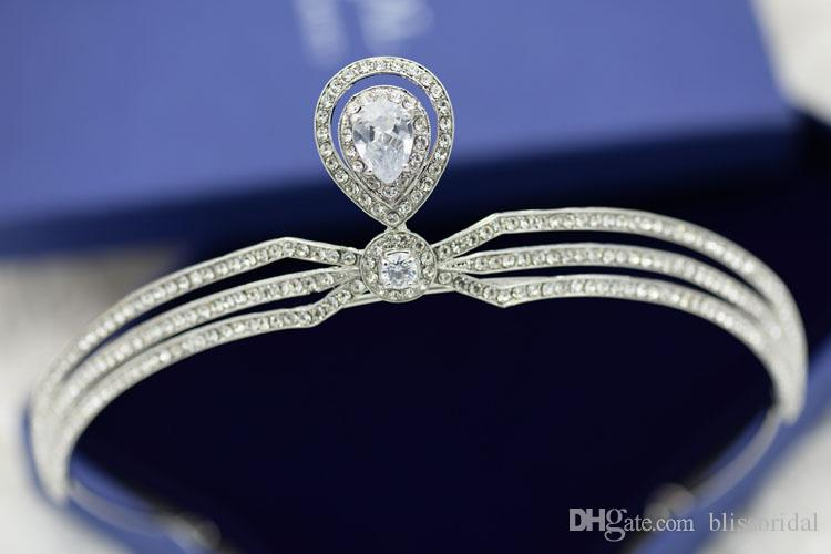 Cristal Brillant Princesse De Mariée Couronnes De Mariage De Célébrités Voile De Mariée Accessoires De Cheveux Perlé Strass Couronnes De Mariage Impérial