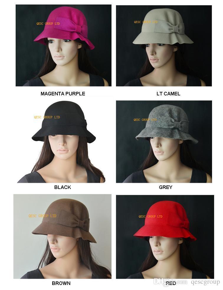 586e8e891cd 100% Fashion WOOL Felt Hat with Felt Bow for Winter