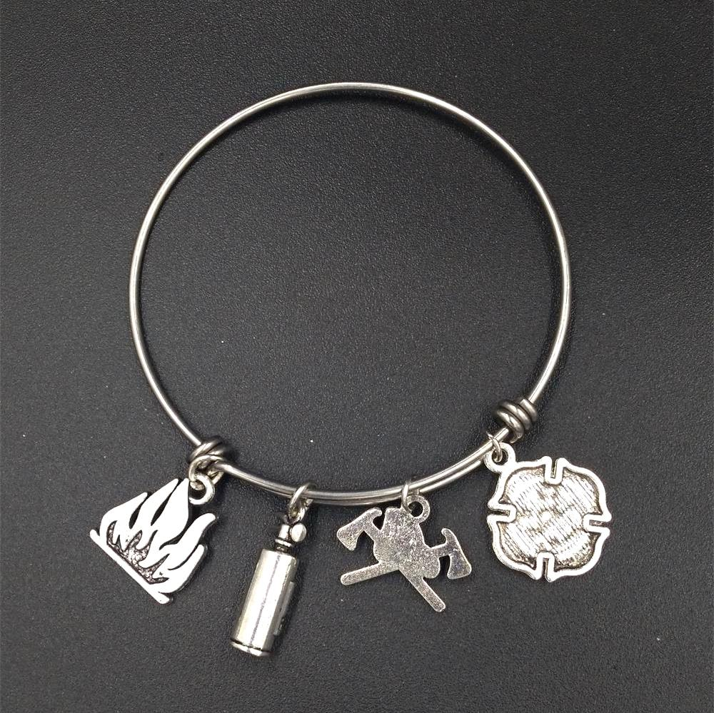 64mm Wholesale Bulk Stainless Steel Adjustable Wire Bangle Charm Bracelet Fireman Firefighter Family Jewelry Gifts for Wife Mom