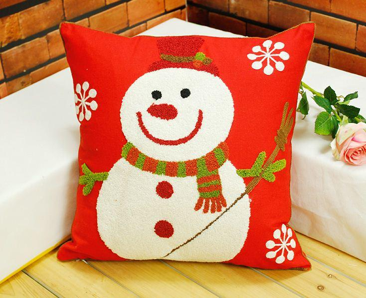 Christmas Pillow Covers For Sale: Embroidered Christmas Pillow Cushion Covers Red Decorative Throw    ,