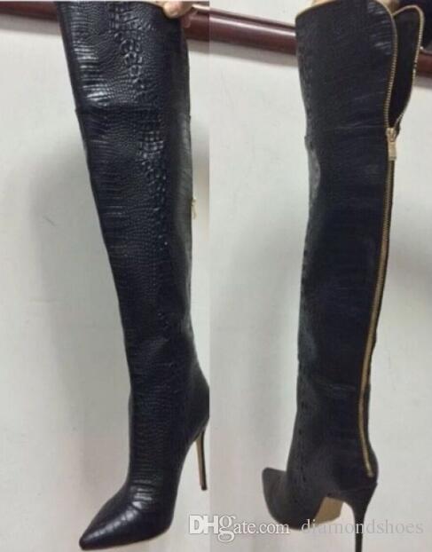 2017 Hiver Femmes Alligator Sexy Sur Le Genou Bottes Hautes Cuisse De Crocodile Haut Bottillons Femme Mode Chaussures À Talons Hauts Botte Femme