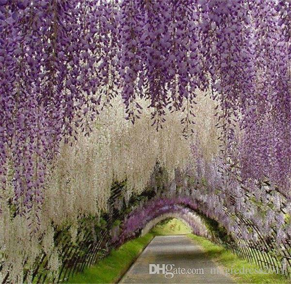 Romantique Fleurs artificielles Simulation Wisteria Vigne Décorations de mariage Longue courte Silk Plant Bouquet Chambre Bureau Jardin Nuptiale Accessoires