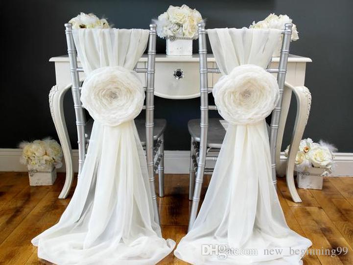 New Arrival Beautiful Wedding Sash Pins Big Flowers Chiffon Chair Covers Elegant Custom Made Wedding Supplies