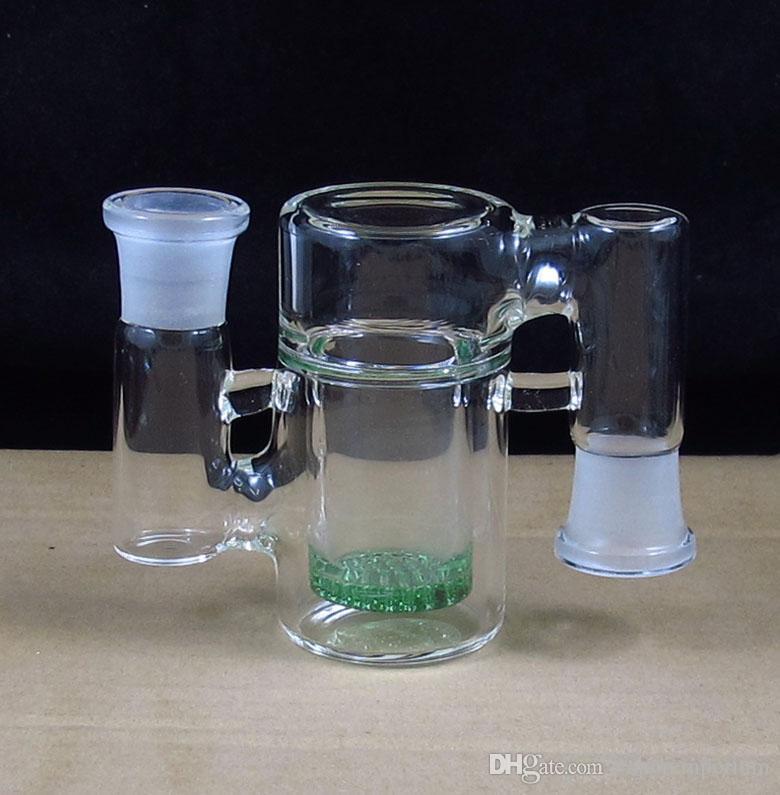 90 Grados de cristal Ceniza Colector con disco de panal pipas de agua percolador pipa de fumar envío gratis P-008