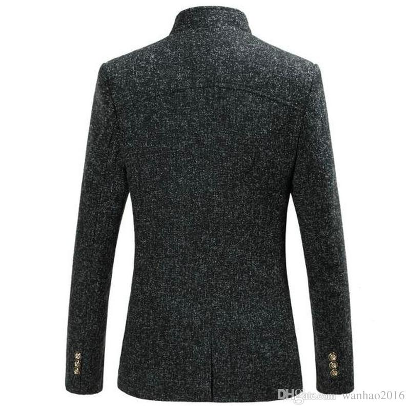 New Arrival Men's Blazers Fashion Casual Business Suit Stand Collar Design Slim Big Size