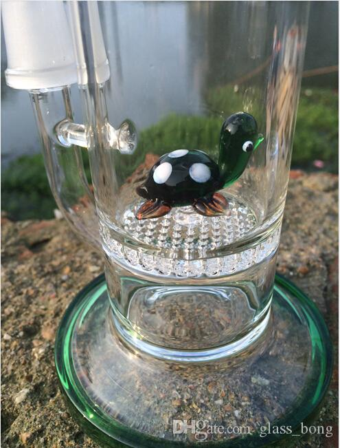 Dos funciones Tubos de agua de vidrio Lindo animal divertido tortuga verde colorido águila de águila freg honejo petróleo plataforma petrolera bongs bastidor de aceite de petróleo de bongs