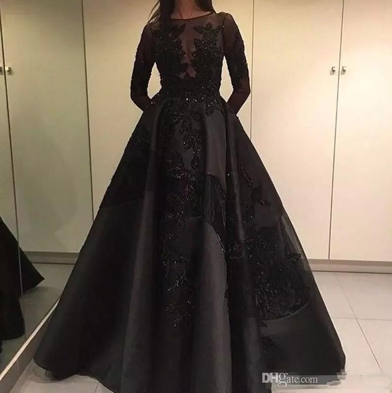 2017 Zuhair Murad Robes de célébrités de soirée officielles avec train détachable en dentelle noire manches longues arabe Dubaï Fashion Prom
