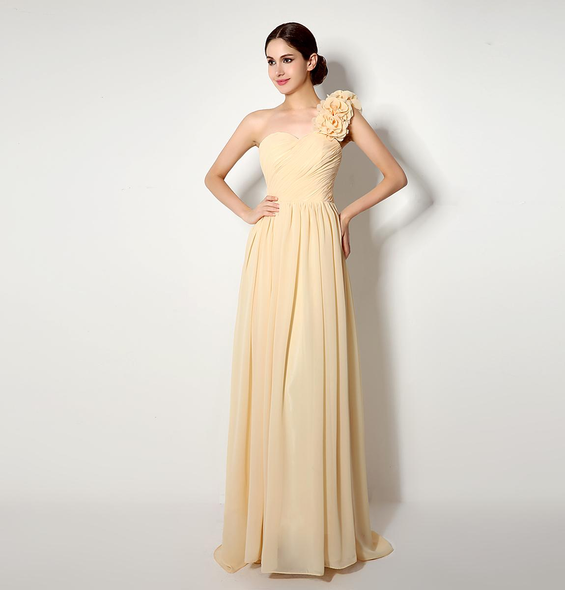 Real sample in stock sexy chiffon one shoulder long bridesmaid see larger image ombrellifo Choice Image