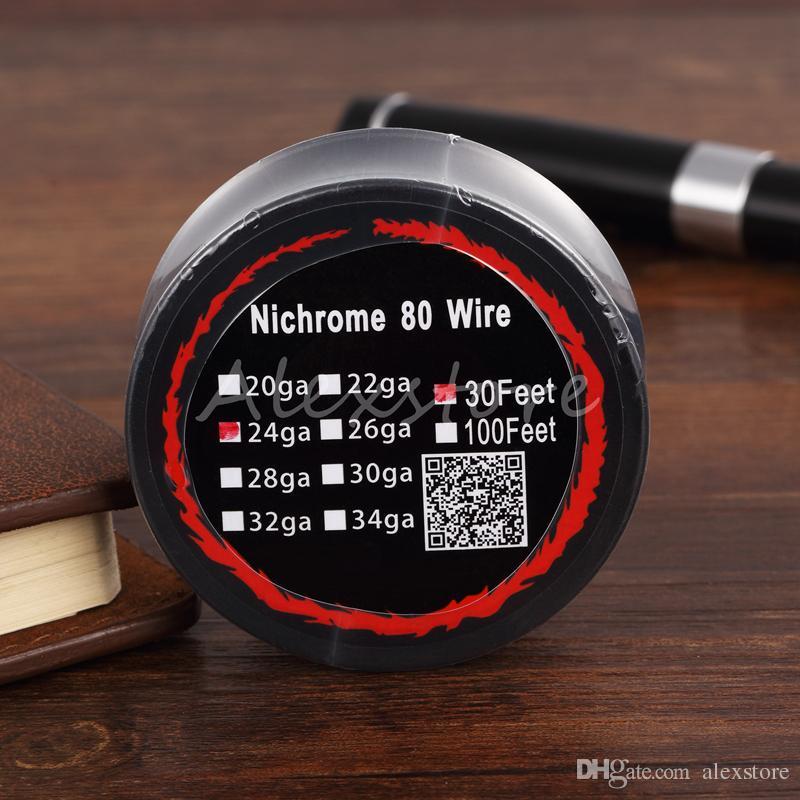 니크롬 80 와이어 가열 저항 코일 30 피트 스풀 AWG 24g 26g 28g 30g 32g 재건 가능한 RDA RBA 분무기 DHL 용 게이지