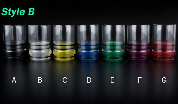 Colores ricos Glass Style Tobh Atty Drip Tip Chuff Enuff Drip Tips para RAD Patriot Vulcan Infinite CLT Stillare Tobh Atty v2 plume velo doge