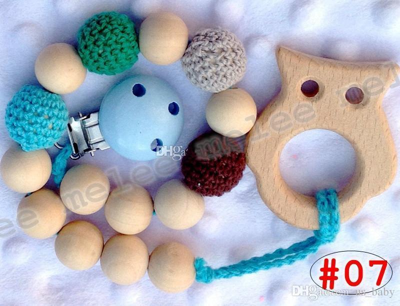 الرضع مصاصة مقاطع الطفل حلقات التسنين الخشبية الطبيعية حامل سلسلة الخرز الكروشيه الخرز المغطاة آمنة للتسنين 10 ألوان