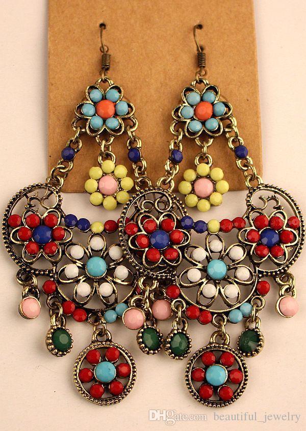 2018 hot vendas de prata tibetana do vintage / resina de bronze gem diamante brincos estilo bohemia jóias misturadas 25 estilo 25 pares / lote
