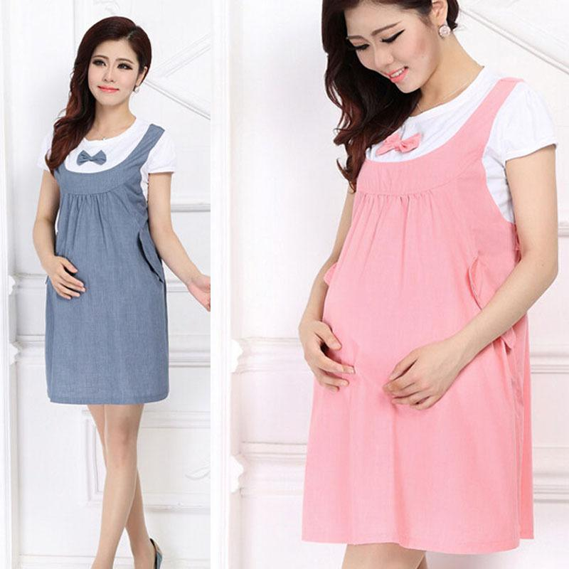 2018 Feitong Summer Maternity Dress Bow Clothes For Pregnant Women ...