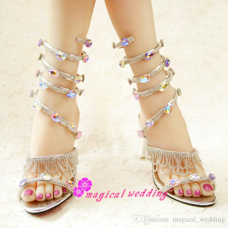 Gladiator Wedding Sandals Shoes For Girls With Mid Stiletto Heels Boots Lace Up Sparkly Rhinestone Bridesmaid Bridal Party Dress Bling Large Womens
