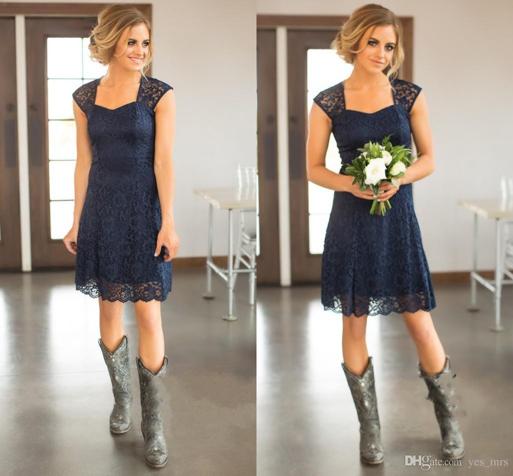 2017 короткие темно-синий бордовый кружева невесты Платья Cap рукава до колен фрейлина платья дешевые страна невесты платье до 100