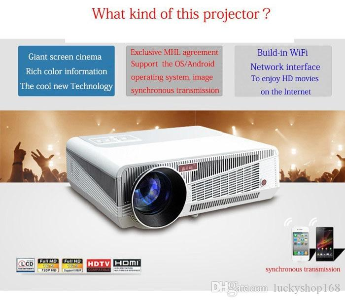 Proiettore gratuito Full HD Proyector 4500lumen Android 4.2 Wifi RJ45 LED Multimedia video Proiettore TV 3D 1280 * 800 home theater
