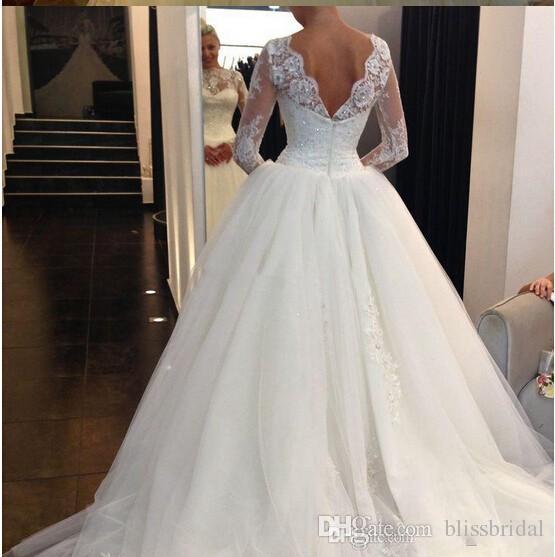 عالية الرقبة شير الرباط فساتين الزفاف الزفاف الإمبراطورية الأميرة طويلة الأكمام فساتين الزفاف مع الترتر يزين تول أثواب الزفاف الفاخرة