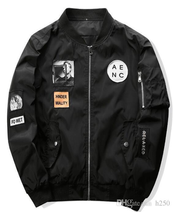 Nuevos hombres chaqueta de bombardero Hip Hop diseños de parche Slim Fit piloto de bombardero chaqueta de abrigo hombres chaquetas más tamaño XXXXL