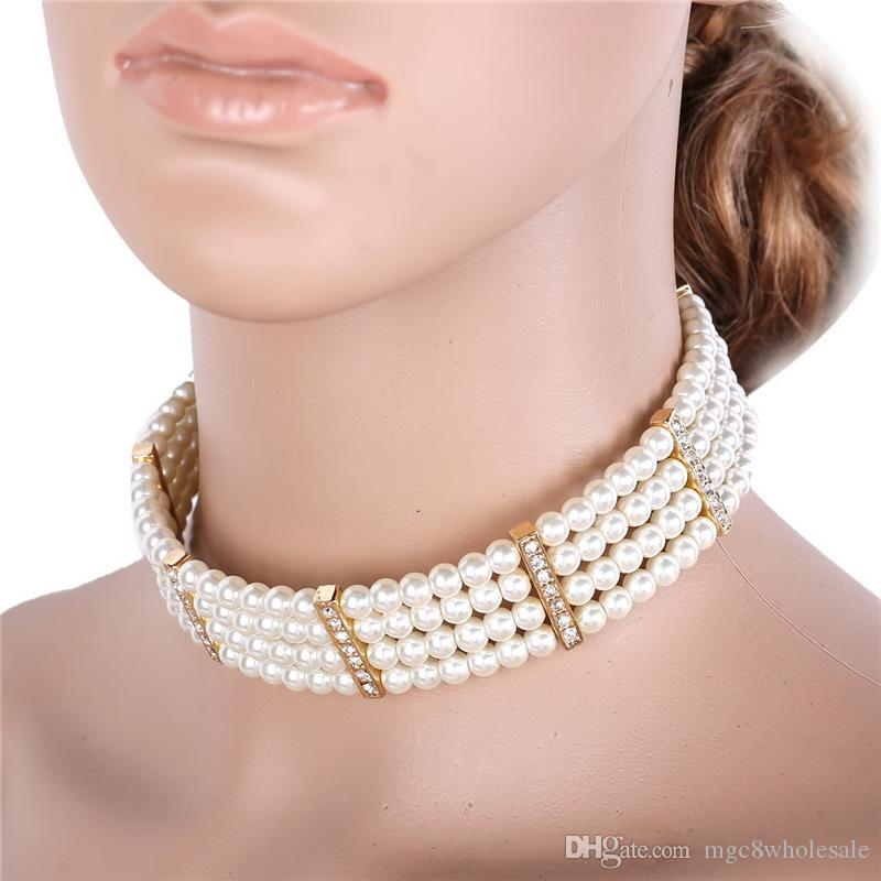 U7 Pearl Jewelry Necklace Bracelet Set Fashion Gold Plated Pearl Sets for Women Perfect Gift Accessories Choker Necklace NH2551