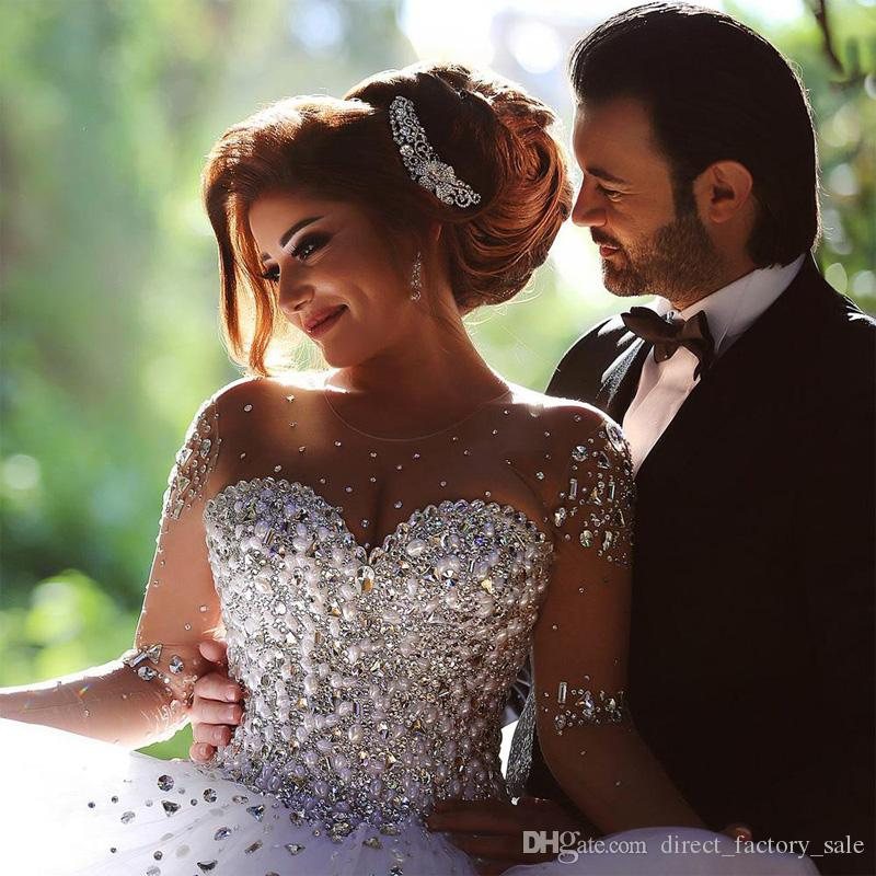 Ball Gown Long Sleeve Beaded Crystal Applique Watteau: Sparkly See Through Crystal Wedding Dress 2015 Ball Gown