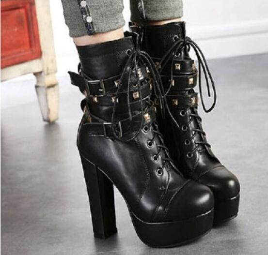 Sexy Womens Leather Boots Lace Up Block High Heels Platform ...
