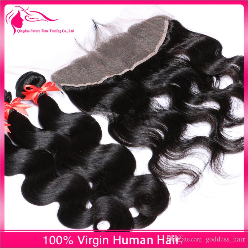 Hot Sale Ear To Ear Lace Frontal With Body Wave Hair Bundles Peruvian Human Hair with Lace Frontal Closure For Black Woman