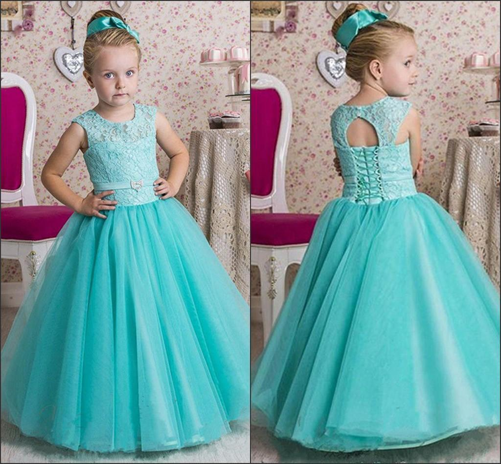 2016 Mint Green Cute Girls Pageant Gowns Floor Length Long Flower ...