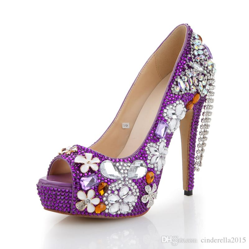 Purple Rhinestone Wedding Shoes Handmade Butterfly Tassel Bridal Dress Shoes Peep Toe High Heel Platform Party Prom Pumps