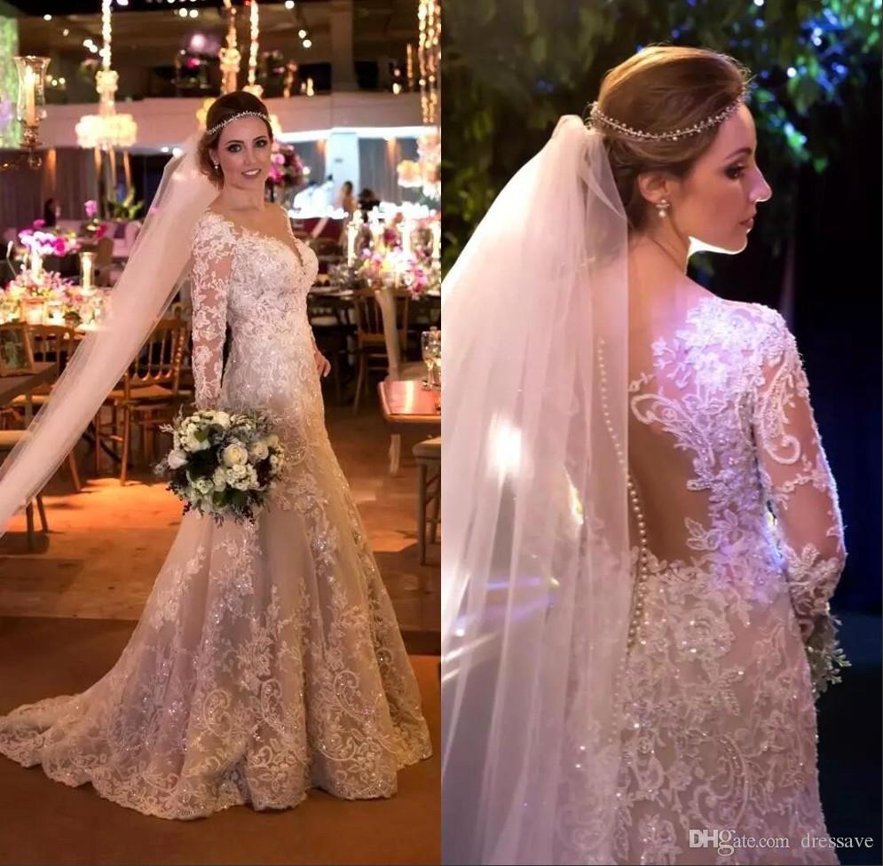 Arabic Sheer Long Sleeves Mermaid Wedding Dresses 2018 Appliqued ...