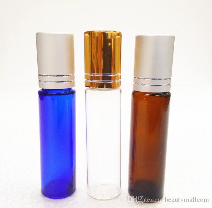 리필 가능 앰버 1ml 2ml 3ml 5ml 10ml ROLL ON 향수 PERFUME GLASS BOTTLES ESSENTIAL OIL 보틀 스틸 메탈 롤러 볼 무료 배송