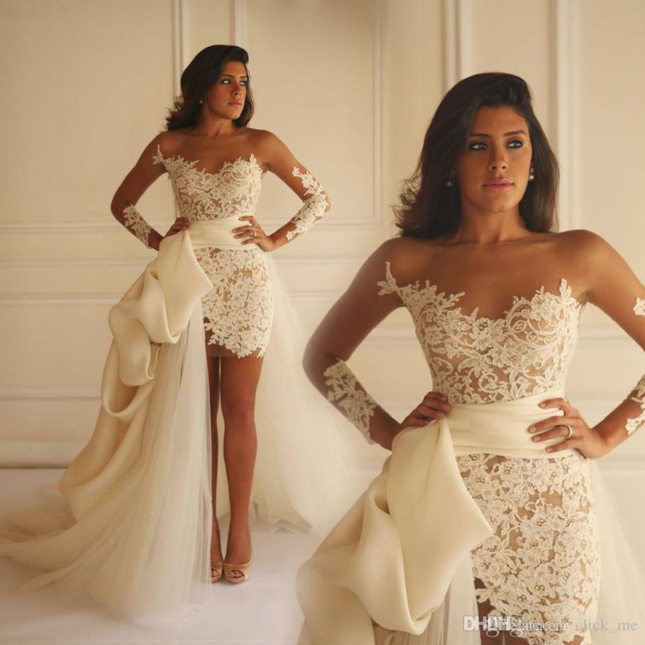 7d82cfb3ab8 Kleider Party Abend Sheer Rundhalsausschnitt Arabisch kurze Spitze mit  langen Ärmeln Brautkleider Illusion afrikanische Prom Dresses Celebrity  Party Kleider