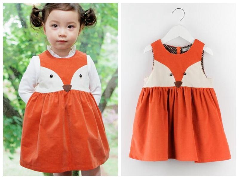 ba6ae7b5c PrettyBaby 2016 Spring Sweet Toddler Baby Girl Fox Dress Orange Fox ...