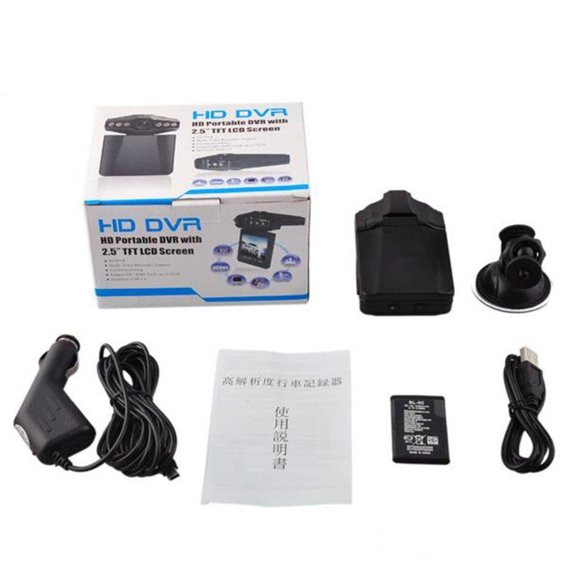 H198 Coche DVR 2.5 pulgadas Coche DVR Vehículo Grabadora de video Cámara Videocámara HD DVR con 6 IR LED Versión nocturna + Tarjeta de memoria