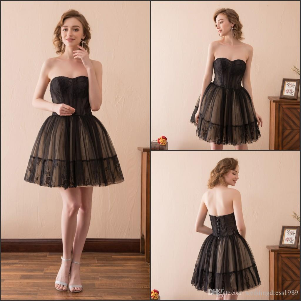 57eaaea8d7 Modest Black Short Mini Prom Dresses Gowns Litter Club Wear Homecoming  Sweetheart Lace Stock 2 16 Tulle A Line Party Dress Formal Ball Special  Occasion ...
