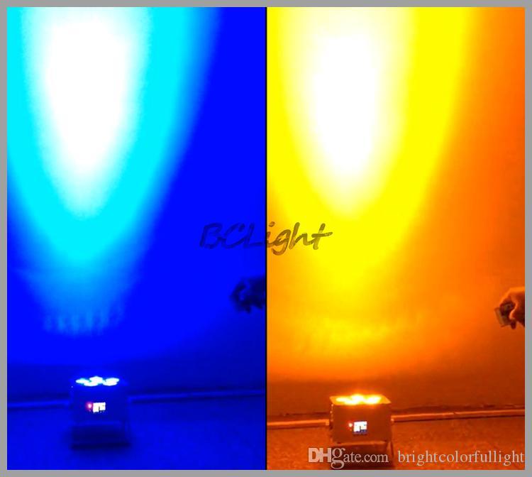 6 قطع +1 يطير حالة / الكثير 6 قطع * 18 واط rgbwauv الملونة مشرق بقيادة بطارية الزفاف اللاسلكية dmx أدى الإضاءة / اللاسلكية dmx led الاسم