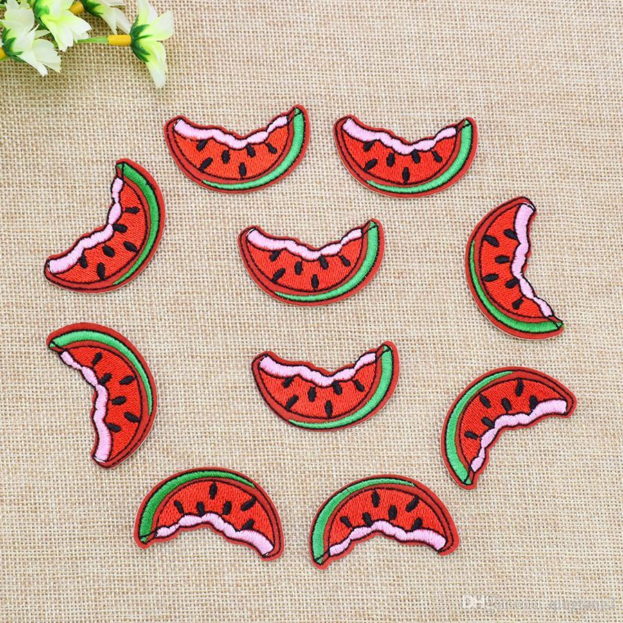 10 STÜCKE Lustige Wassermelone Patch für Kleidung Taschen Eisen auf Stickerei Patches für Kleid Kleid DIY Nähen auf Stickerei abzeichen