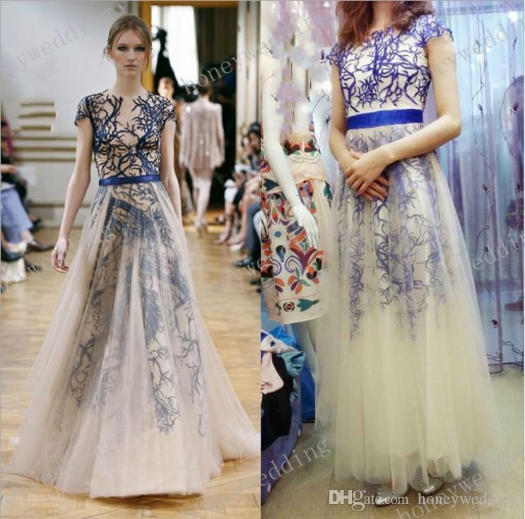 Pretty Elie Saab 2015 New Prom Dress Jewel Capped Sleeve Tulle Red ...