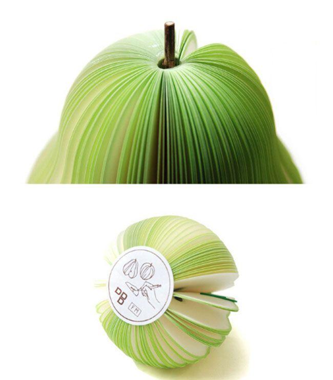 Trendy koreanische Art-nette Apple-Note Paper Fruchtnote Notizblöcke Tragbarer Kratzer-Papier Notizblöcke Beitrag Sticky 3D Apple-Form-Birnenform