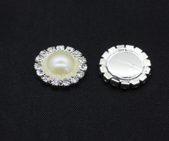 la vendita calda avorio capelli piatti bottoni strass posteriori bottoni metallici perla matrimonio abbellimento arco accessorio dei capelli fai da te PB-01