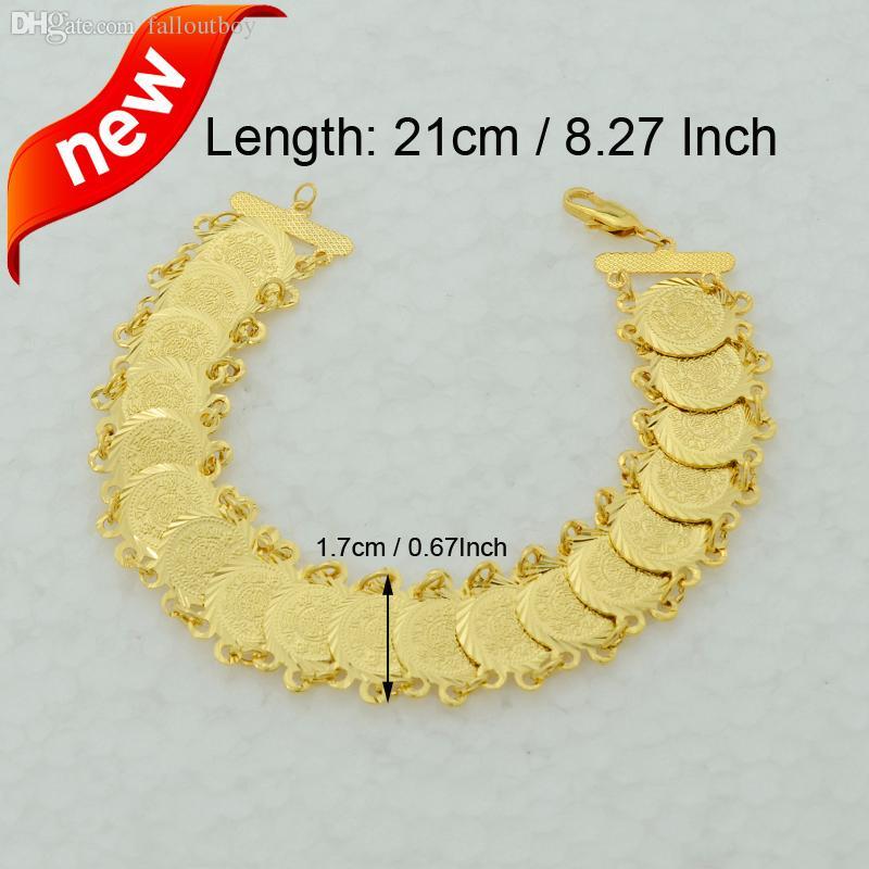 Wholesale 21cm Gold Coin Bracelet Men 22k Yellow Real Gold Filled ...