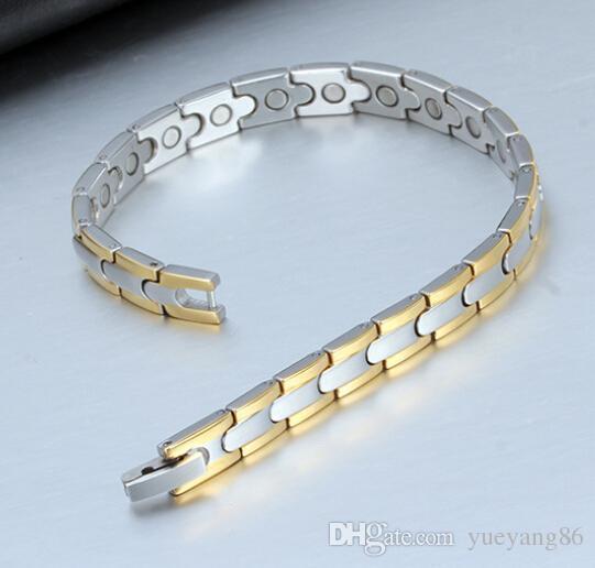 New Design Popular high-grade Trendy XMAS' gift 26g energy health magnetic pure Tungsten steel 7mm men women Bracelet jewelry gold&Silver