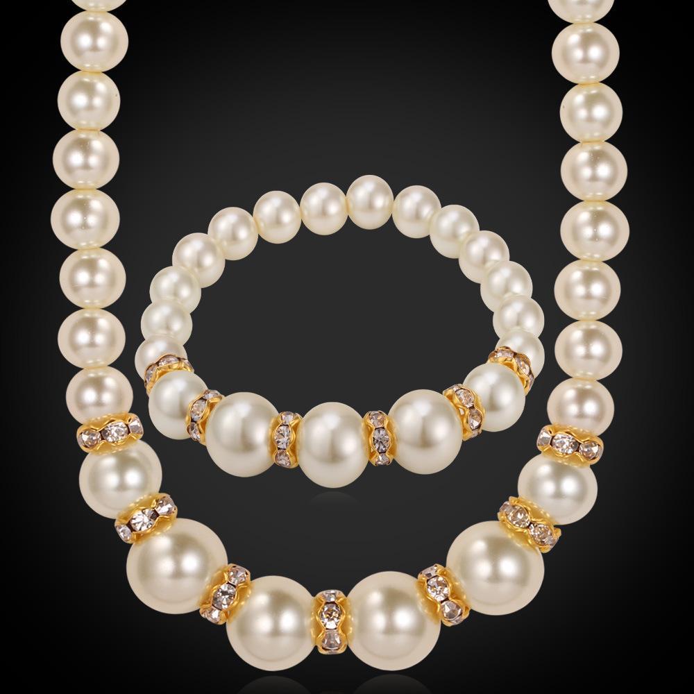 Women S Pearl Necklace 18K Real Gold Plated Pearl Jewelry Set Rhinestone  Crystal Luxury Beaded Bracelet Set UK 2019 From Yoyozhen a6e45c1b6b