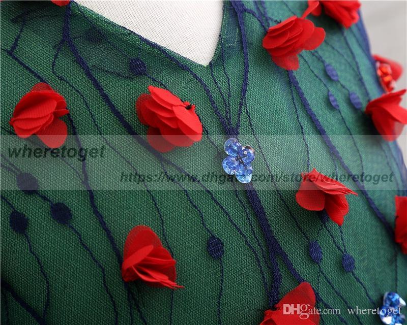 2019 البحرية الزرقاء وemrald فساتين بالتواصل الخضراء للبنات مسابقة الكرة أثواب V الرقبة رخيصة اللباس زهرة فتاة على طول حفلات الزفاف الكاحل