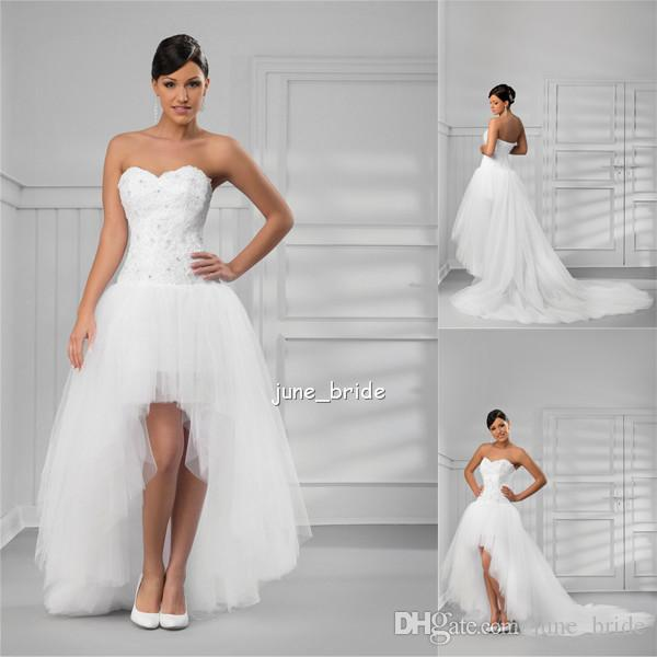 Sexy Fitted High Low A Line White Tulle Wedding Dresses Appliques